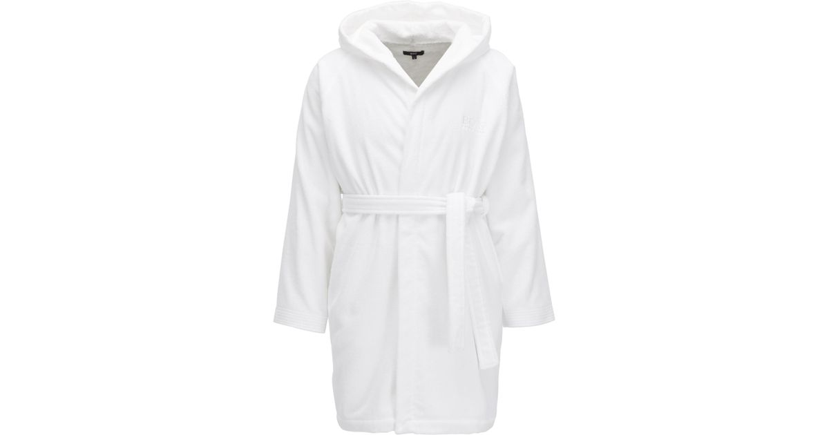 Boss Hooded Dressing Gown In Egyptian Cotton in White for Men - Lyst