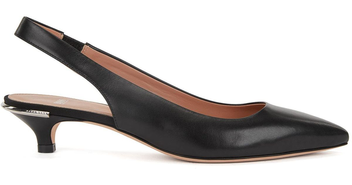 HUGO BOSS Calf-leather pumps with silver-trimmed kitten heel Cheap Exclusive VVHnuoG8S