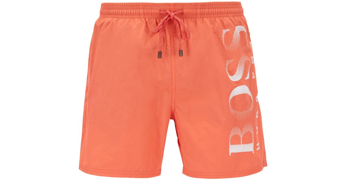677c0d2973 Lyst - BOSS Logo-print Swim Shorts In Technical Fabric in Red for Men