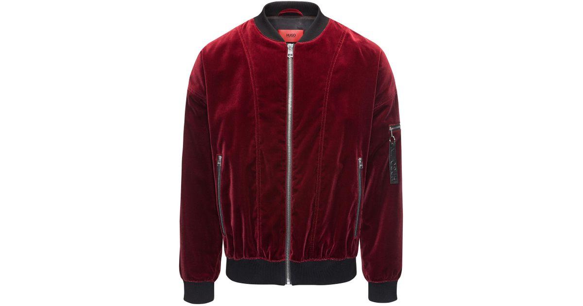 101648d69 HUGO Red Velvet Bomber Jacket In An Oversized Fit for men