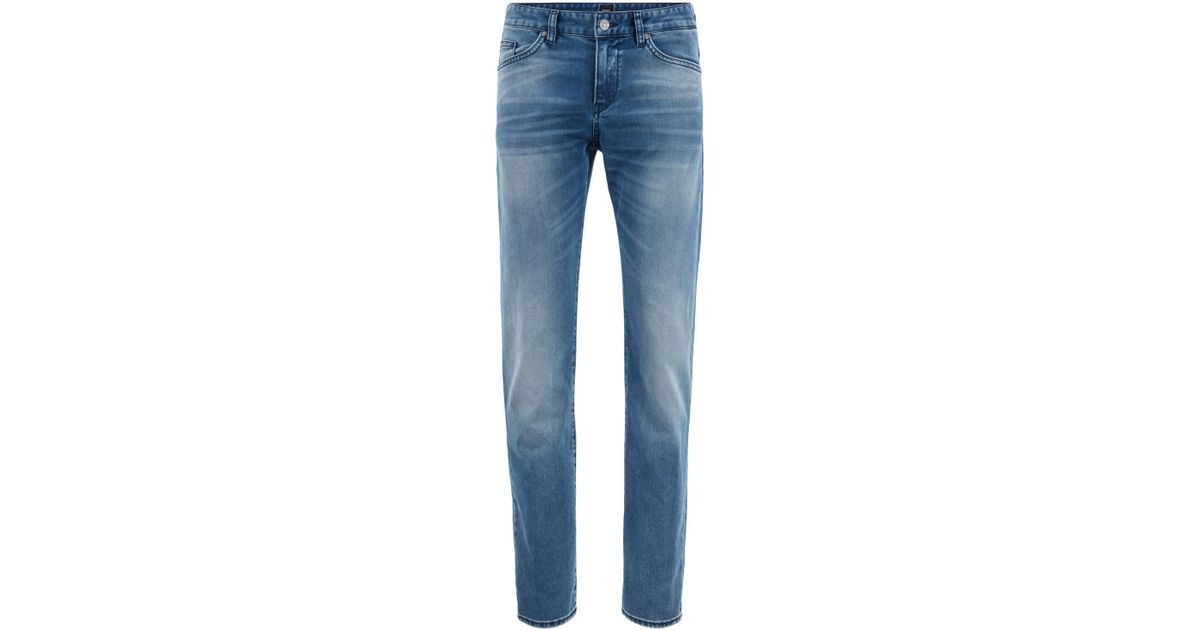 c7da2739282 Lyst - BOSS Slim-fit Jeans In Washed Italian Stretch Denim in Blue for Men