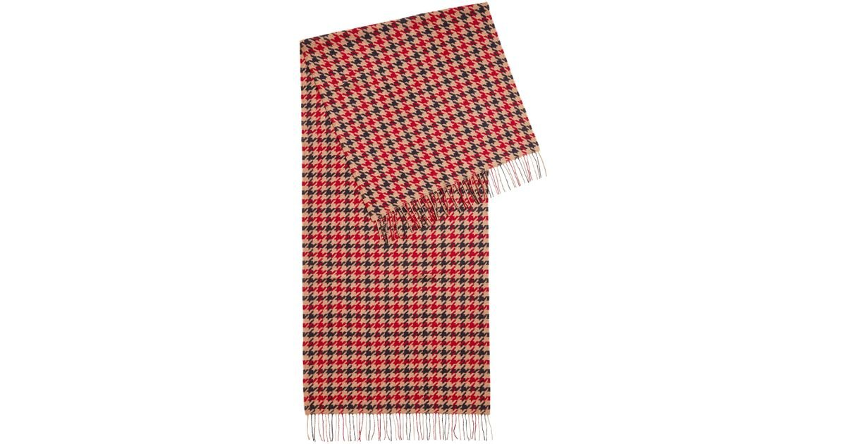 ec14527eae4 Lyst - BOSS Three-color Scarf In Virgin Wool With Houndstooth Check Pattern  in Red