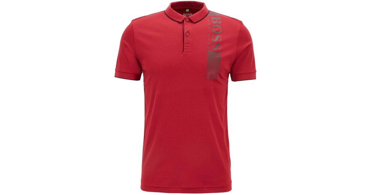 e692c52e0 Lyst - BOSS Slim-fit Polo Shirt With Moisture Management in Red for Men