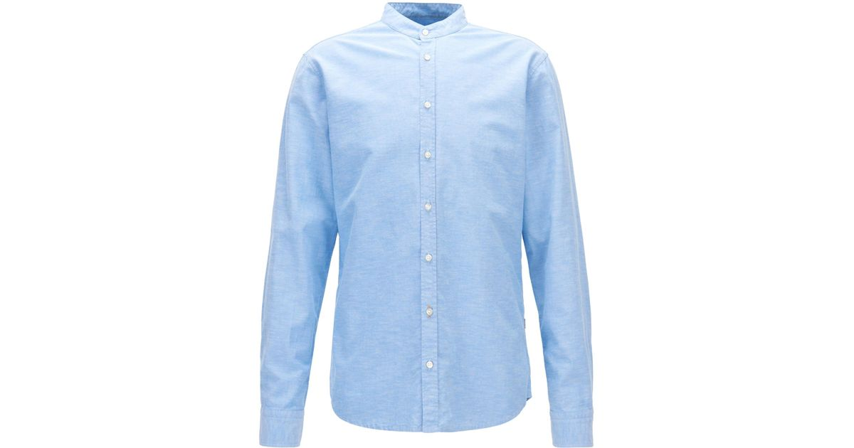 26868709c BOSS Regular-fit Oxford Cotton Shirt With Stand Collar in Blue for Men -  Lyst