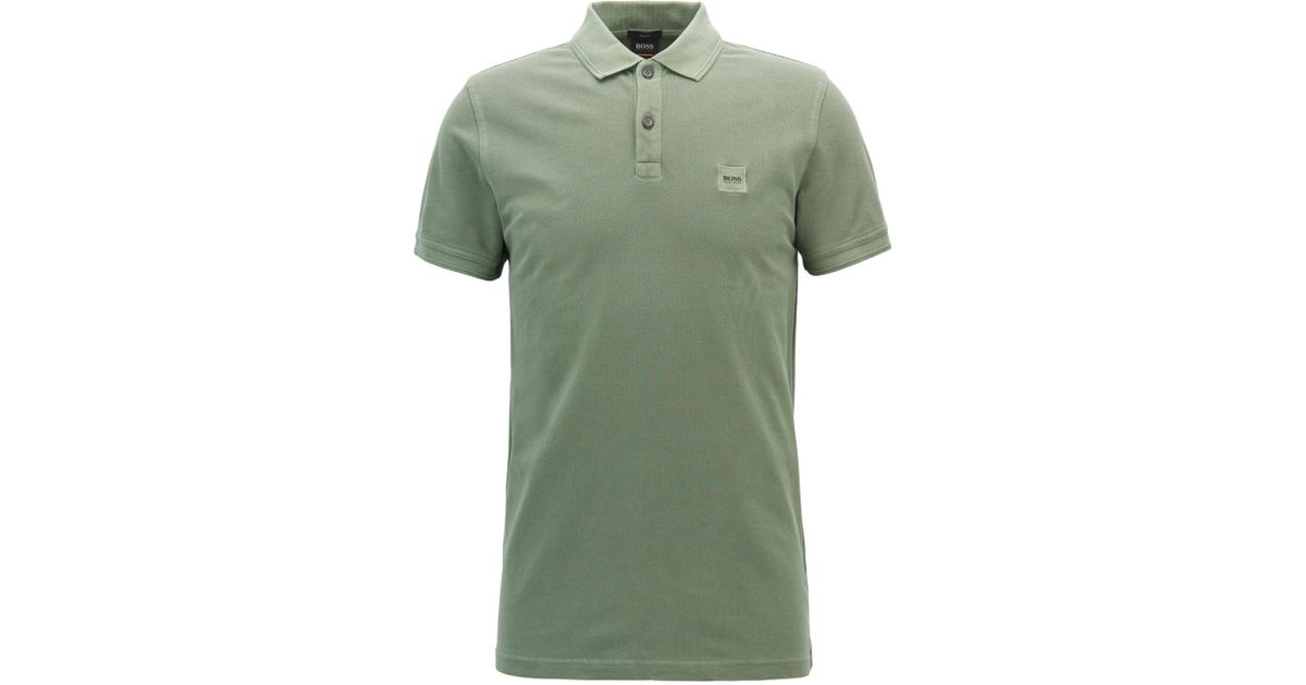 e21e7730bc Lyst - BOSS Slim-fit Polo Shirt In Washed Cotton Piqué in Green for Men