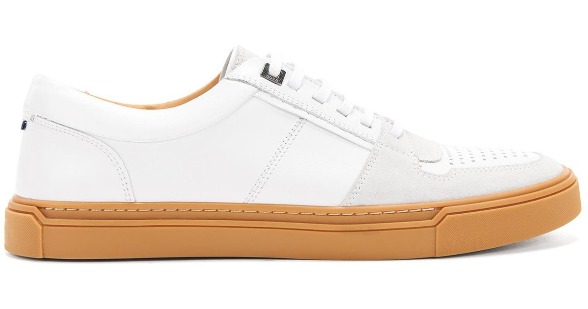 Italian calf-leather trainers with Strobel construction BOSS uoTEVG