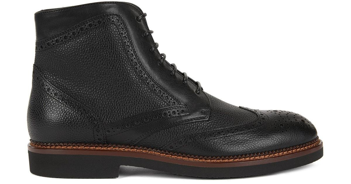d3c7843a1c2 BOSS Black Lace-up Boots In Scotch-grain Leather for men