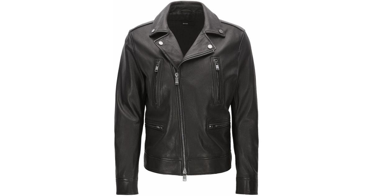 68ed7194c BOSS Black Slim-fit Leather Biker Jacket for men