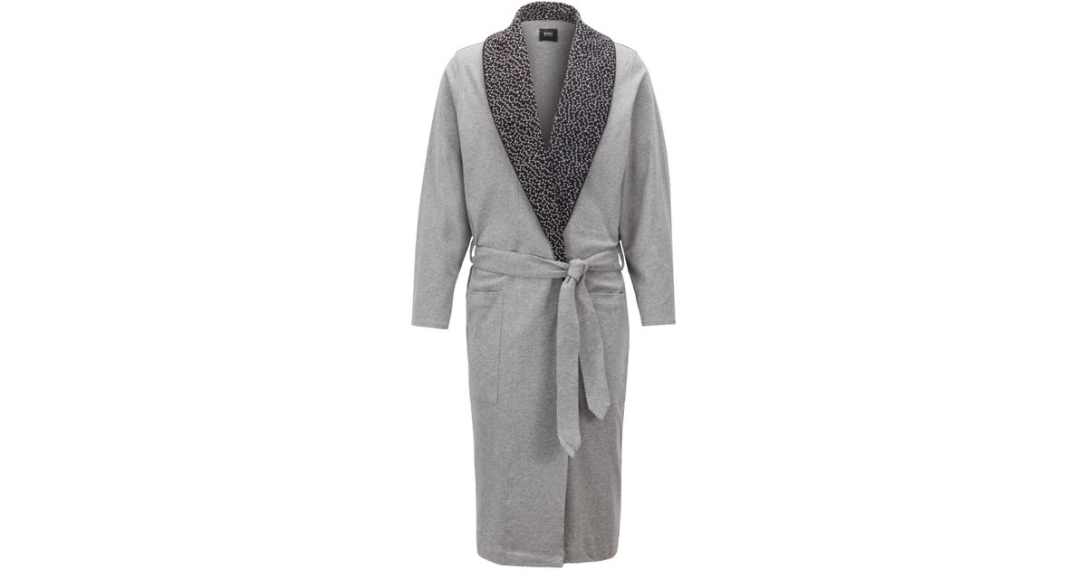 Boss Dressing Gown With Lapel Print Inspired By Anni Albers in Gray ...