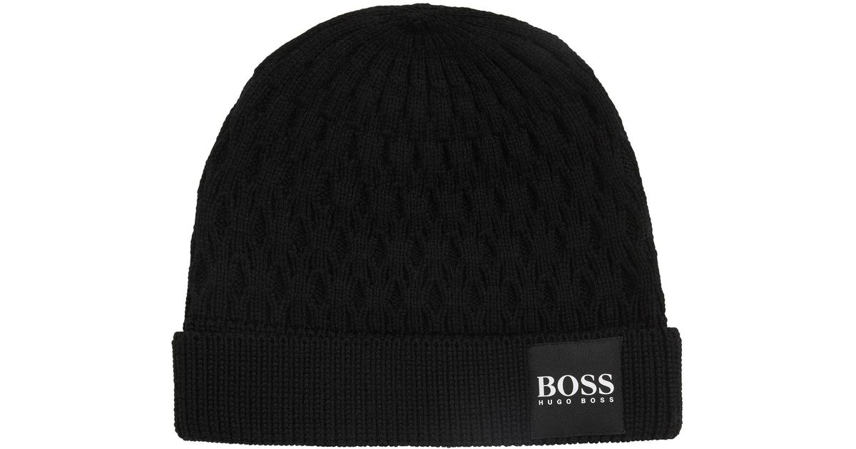 8c9daf18e0b25 BOSS Knitted Beanie Hat In Structured Virgin Wool in Black for Men - Lyst