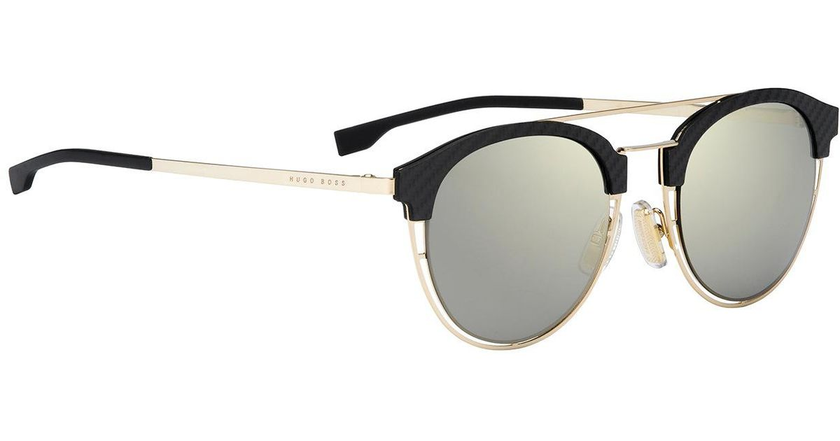 d2fe2309dad BOSS Gold-coloured Sunglasses With Carbon Fibre Trim On The Frames    0784 s   in Metallic for Men - Lyst