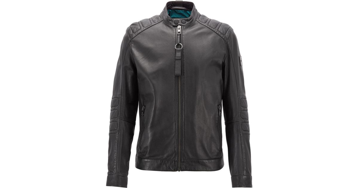 f6b3df46c BOSS Black Slim-fit Biker Jacket In Part-quilted Leather for men
