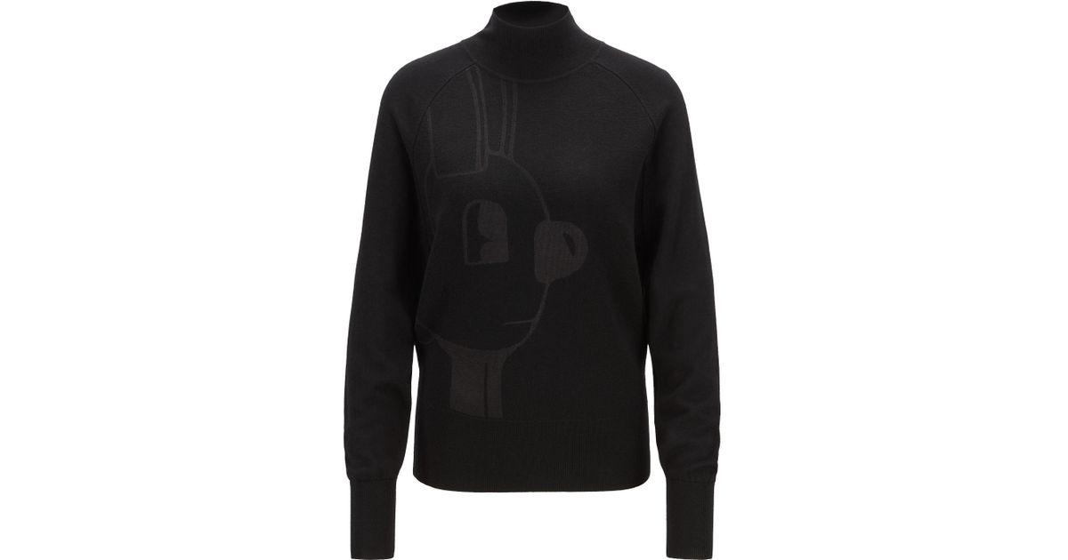 3b8860b8d6 BOSS Mock-neck Sweater With Jeremyville Motif in Black - Lyst