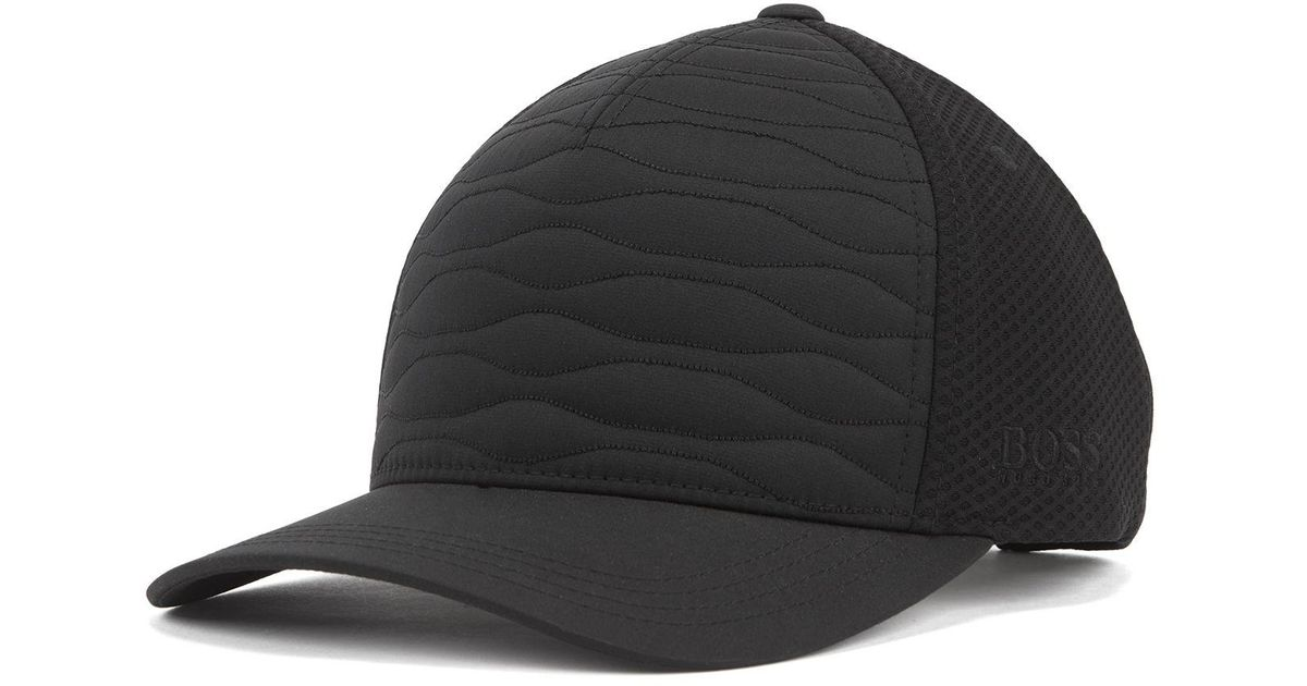 Hugo Boss Quilt-Effect Hat Cap With Mesh Panels And Logo Embroidery