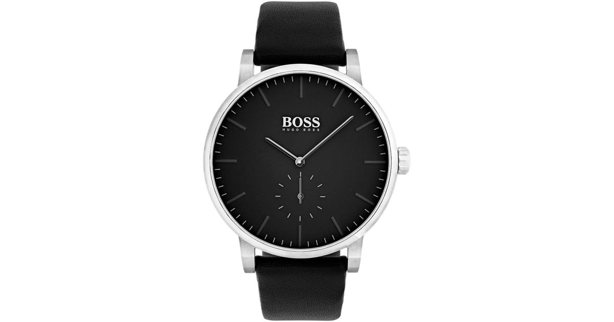 888dfb8e8615d2 BOSS Minimalist Stainless-steel Watch With Matt Black Dial And Leather Strap  in Black for Men - Lyst