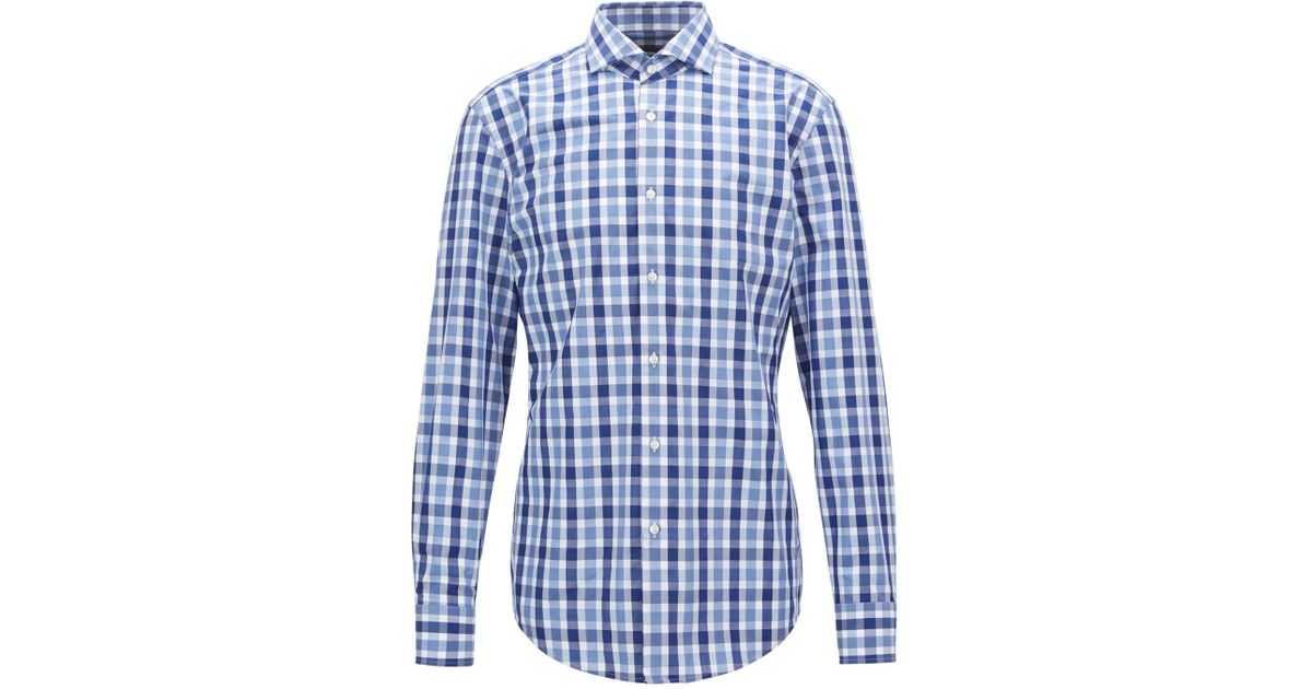 b27c55d49 Lyst - BOSS Slim-fit Shirt In Vichy-check Cotton Poplin in Blue for Men