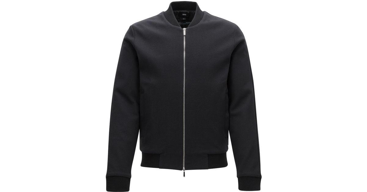lyst boss mercedes benz cotton zip jacket soule in. Black Bedroom Furniture Sets. Home Design Ideas