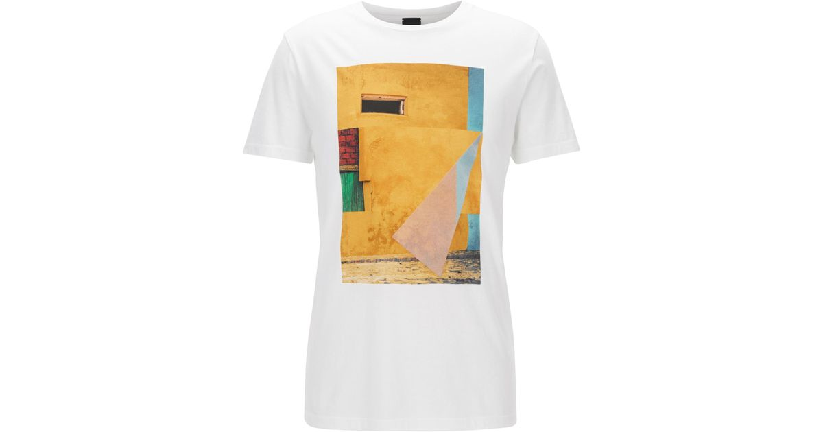 ad5b4f2cff0 BOSS Cuba-print Cotton Graphic T-shirt | Turbulent in White for Men - Lyst