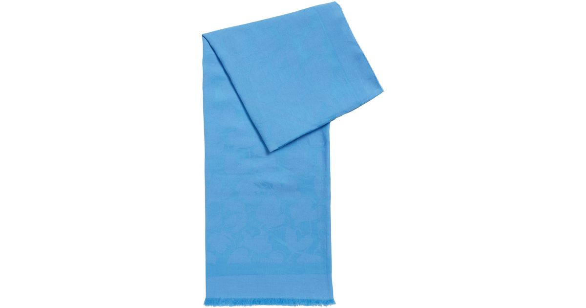 Cotton-blend scarf with tonal jacquard logo BOSS mdesJAu