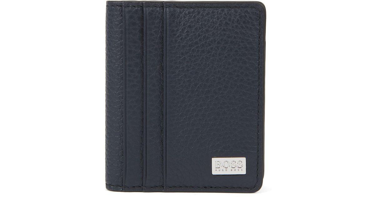 big sale fe964 581a6 BOSS Blue Bifold Card Case In Grainy Italian Leather for men