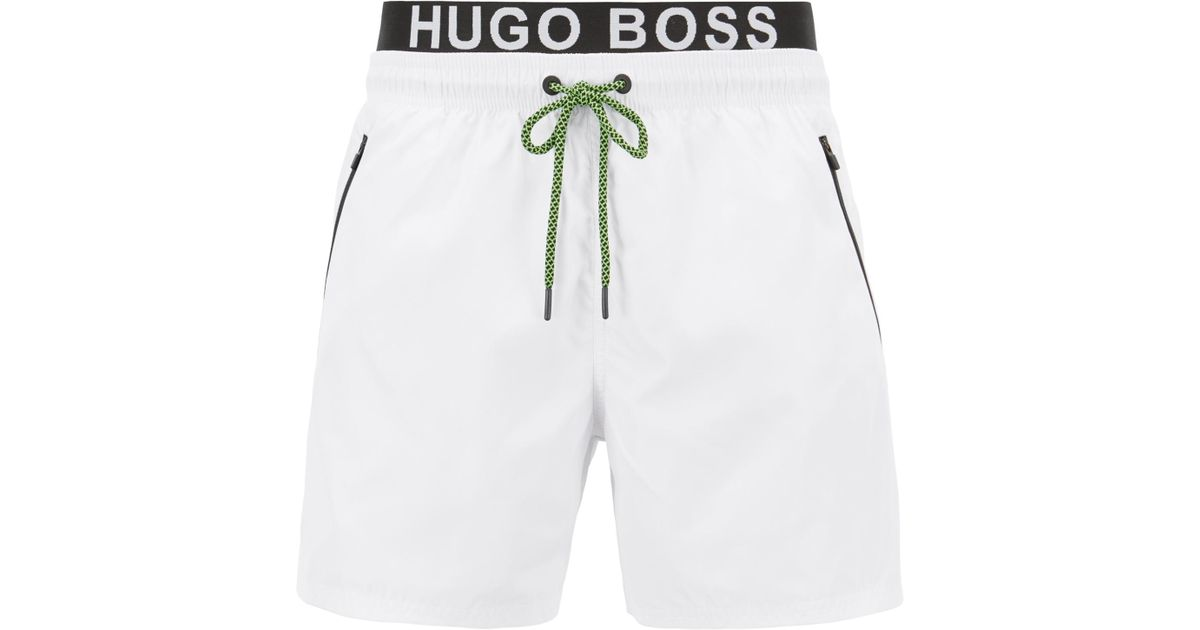 47e2ff23d BOSS Lightweight Swim Shorts With Double Waistband in White for Men - Lyst