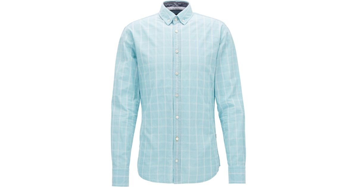 Slim-fit shirt in Glen-check dobby cotton BOSS Discount Best Prices Good Selling Cheap Sale 2018 View lCoiQe