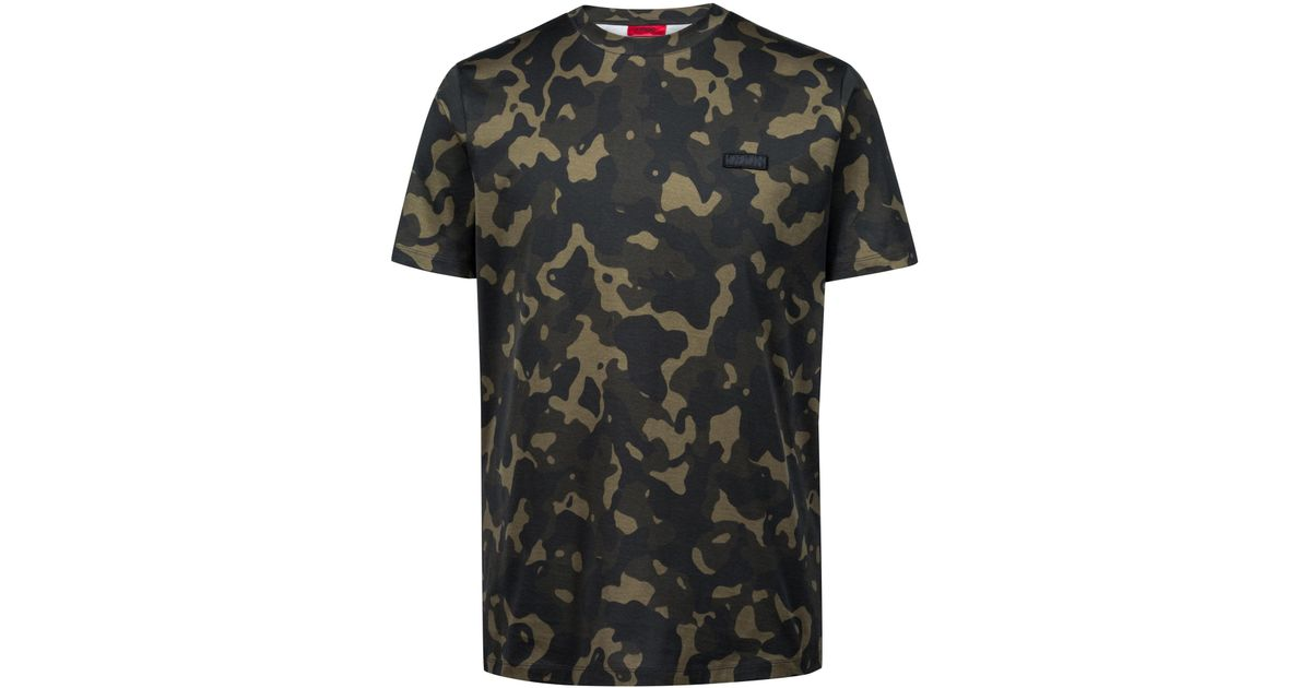 eaba1a09 Lyst - HUGO Relaxed-fit T-shirt In Pure Cotton With Camouflage Print in  Black for Men
