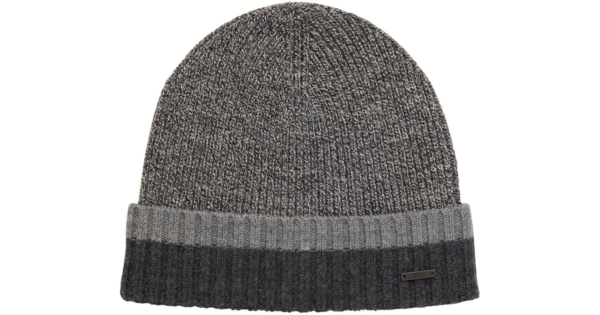 81c5be528f68c BOSS Beanie Hat In Virgin Wool With Contrast Turn-up in Black for Men - Lyst