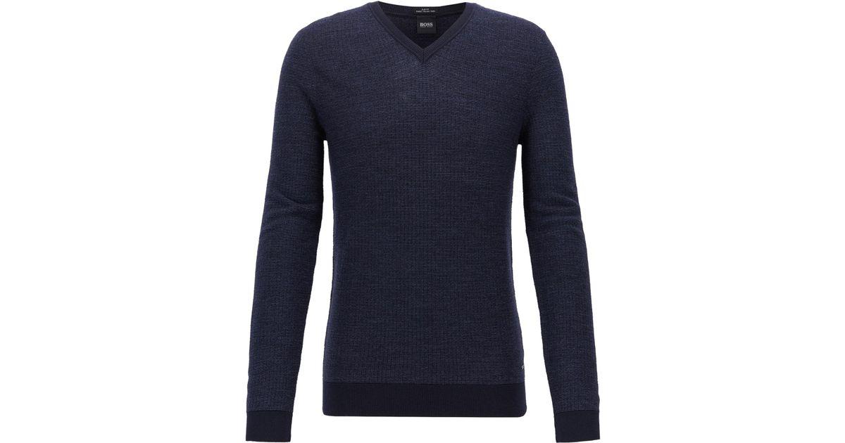 20fdb9c1d BOSS Slim-fit Sweater In Extra-fine Italian Merino Wool in Blue for Men -  Lyst