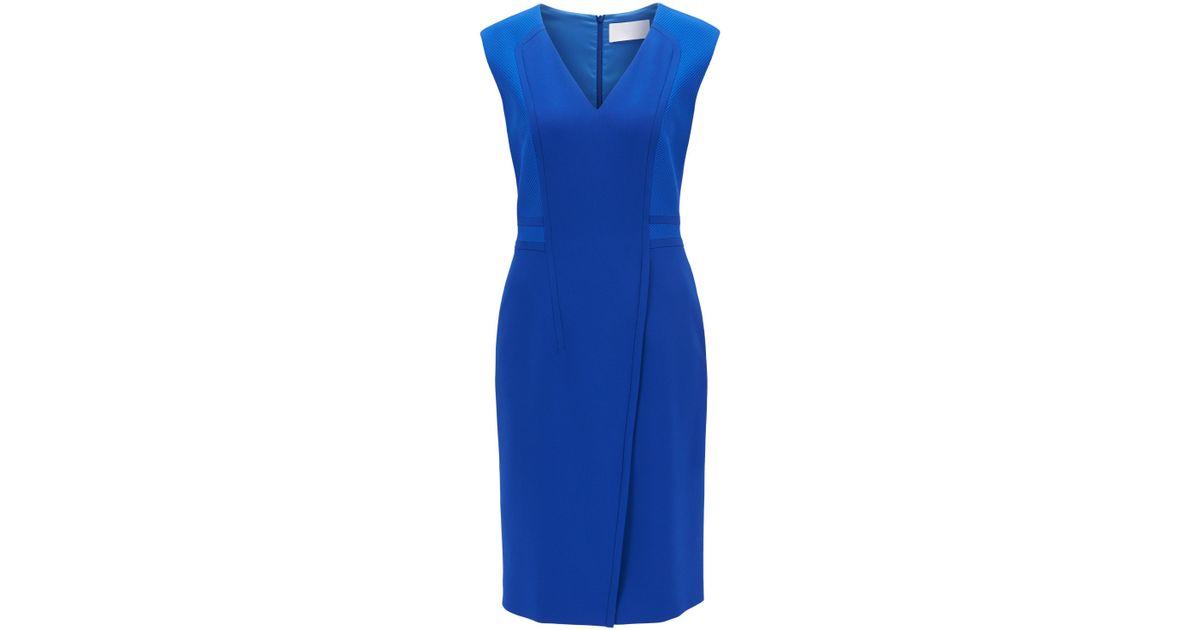 Boss By Hugo Boss Synthetic V Neck Sheath Dress Dadama In Blue Lyst