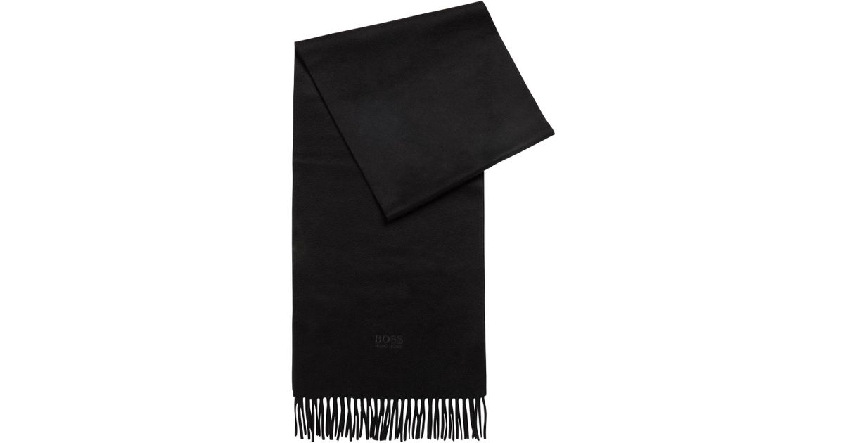 Lyst - BOSS Tailored Italian-made Scarf In Cashmere With Fringed Hem in  Black 6cf0575fe0b