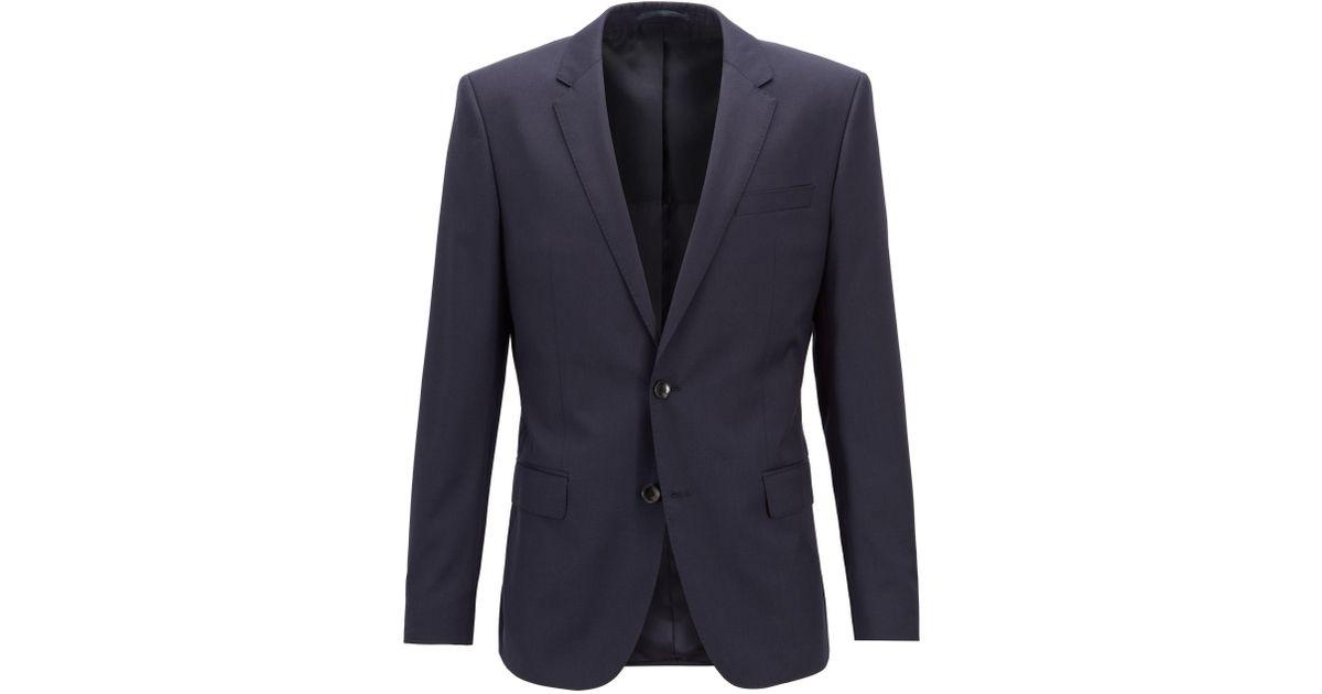 cba76d0f3 BOSS Slim-fit Jacket In Virgin Wool in Blue for Men - Lyst