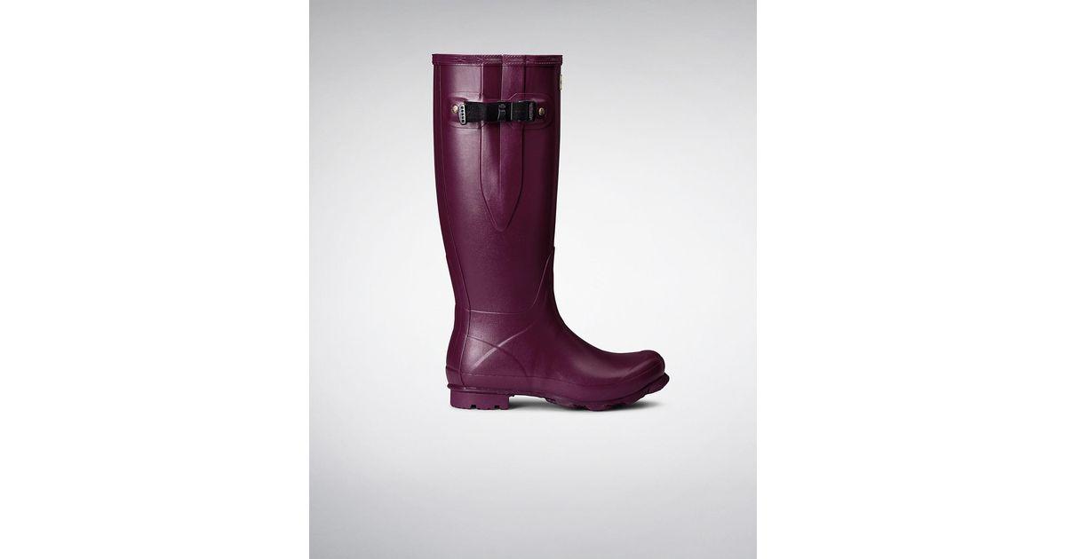 9b18afcf2dd HUNTER Purple Women's Norris Field Side Adjustable Boots