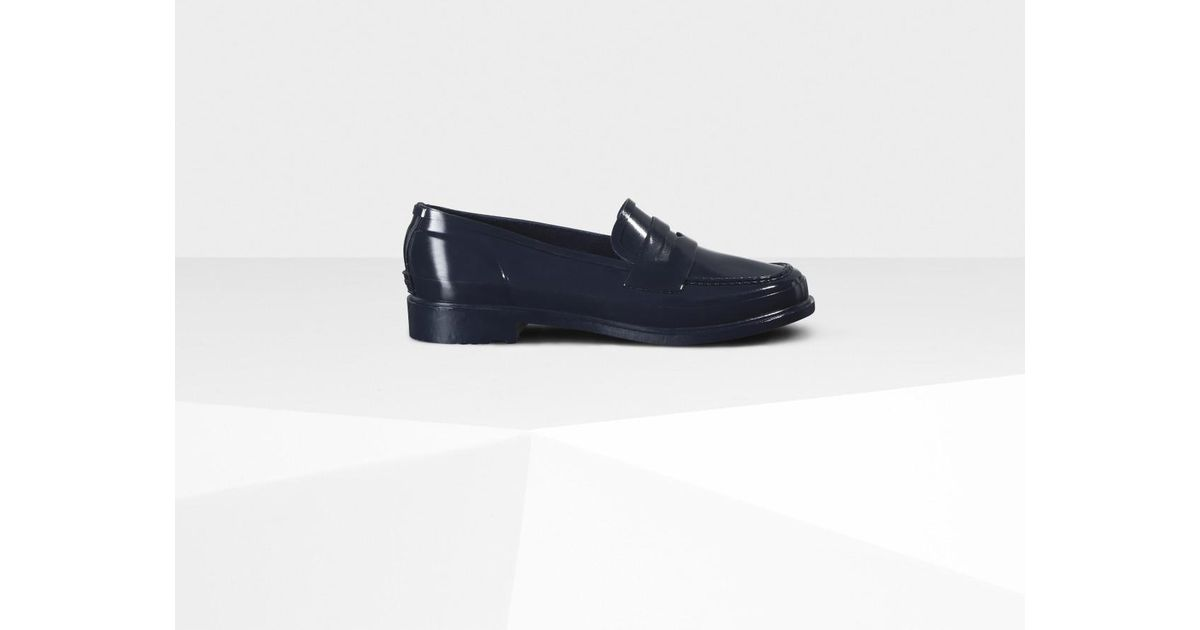 f17a705089d Hunter Original Gloss Penny Loafers in Blue - Lyst