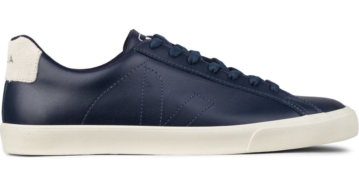 Veja Navy Esplar Leather Sneakers In Blue For Men Navy