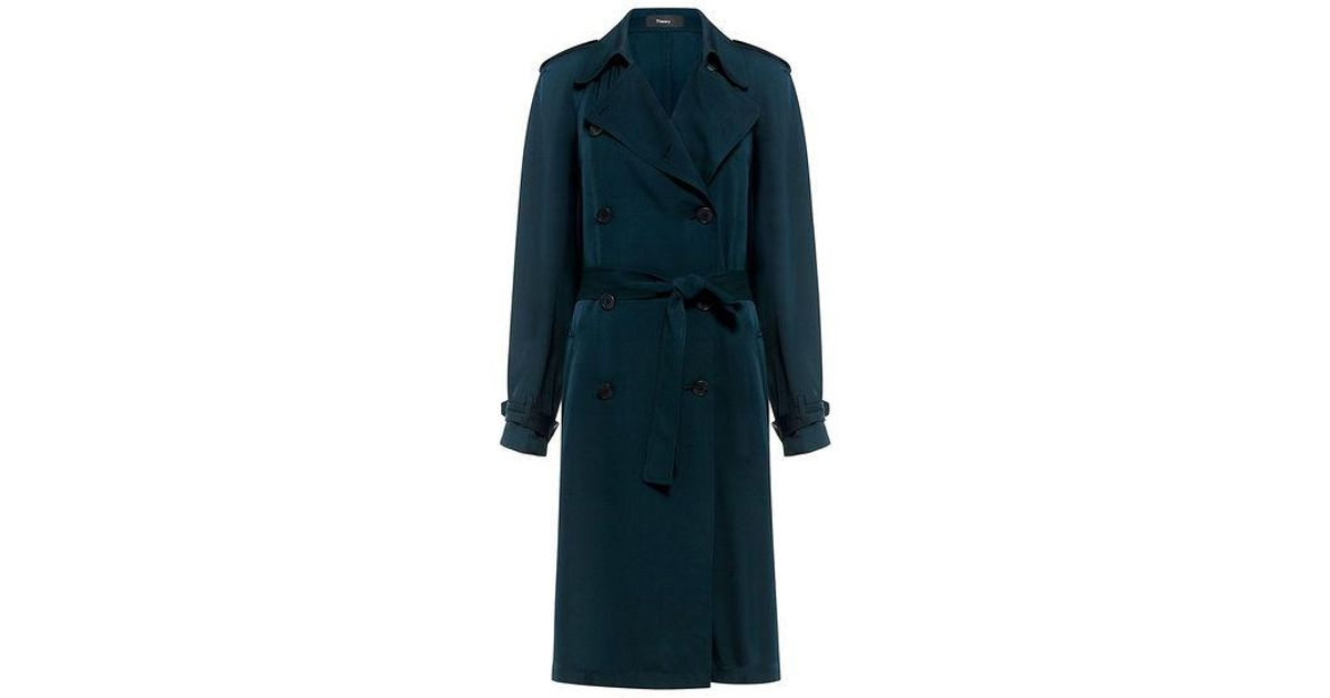 37b4519ba2 Theory Laurelwood Silk Trench Coat in Blue - Save 30% - Lyst