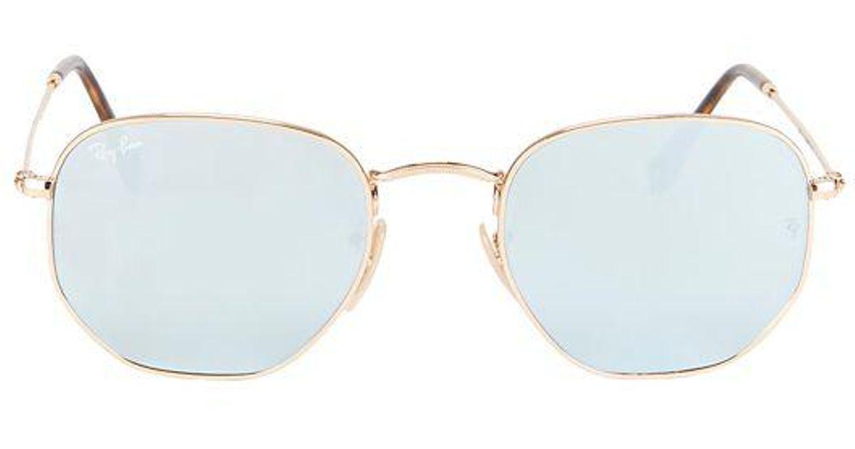 0559ada32e Ray-Ban Hex Metal Frame Sunglasses in Metallic - Lyst