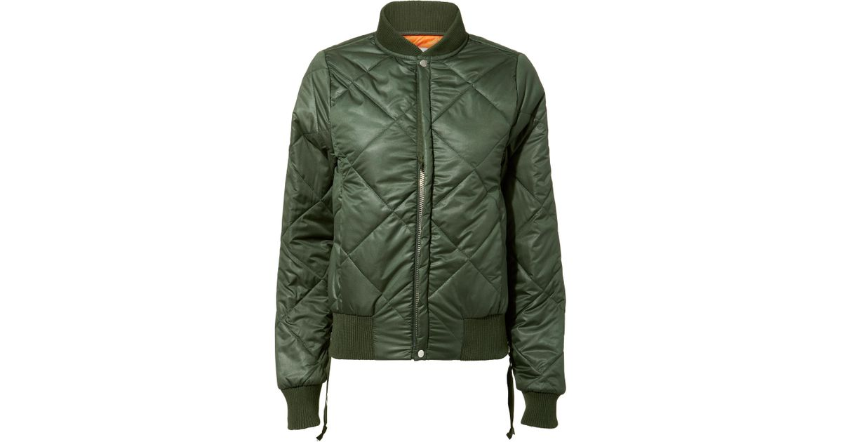 Lyst Nsf Neil Olive Green Quilted Bomber Jacket In Green