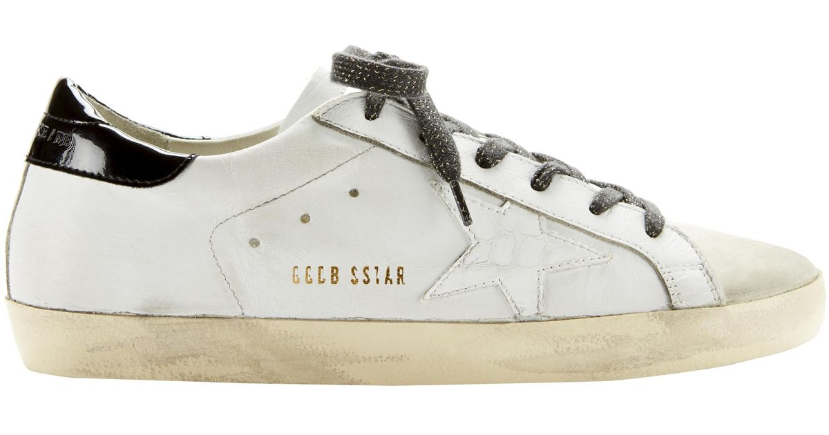 Lyst - Golden Goose Deluxe Brand Superstar Crocodile Star White Leather Sneakers in White