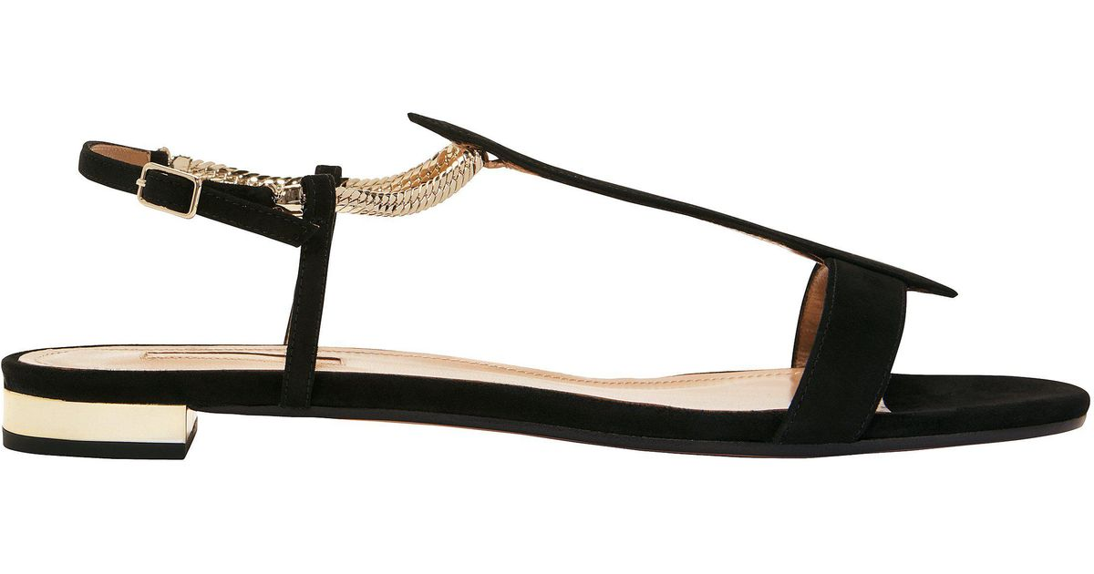 Aquazzura Suede Vogue Flat Sandals in