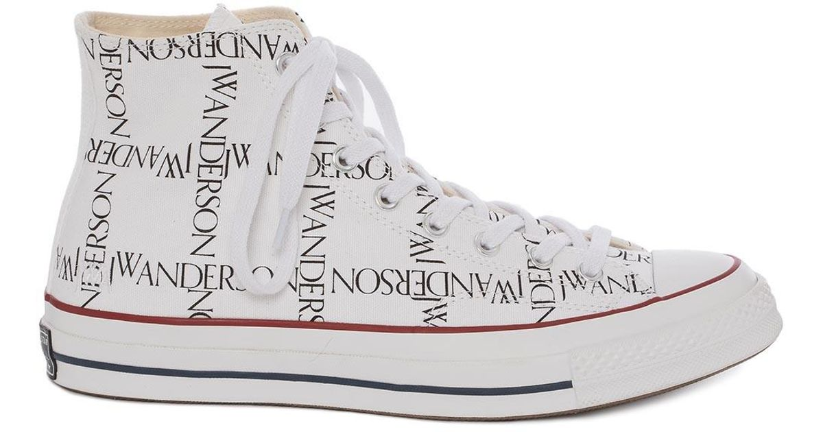 95266b36126b Lyst - JW Anderson Mens White Logo Grid Chuck Taylor Converse in White for  Men