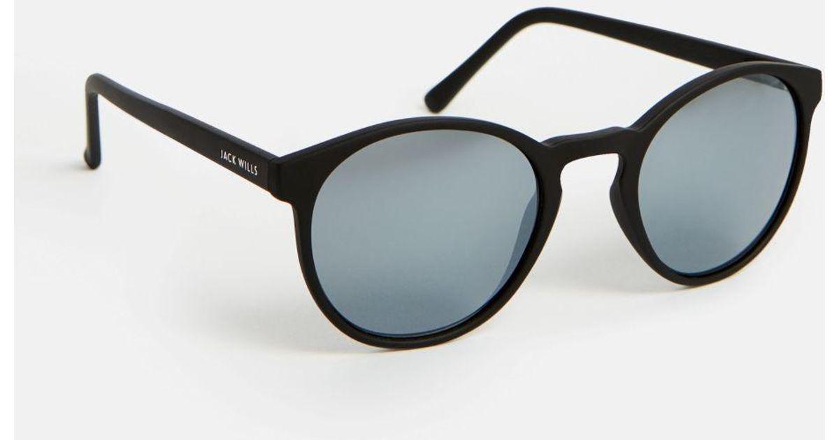 Jack Wills Burdock Round Frame Sunglasses in Black - Lyst