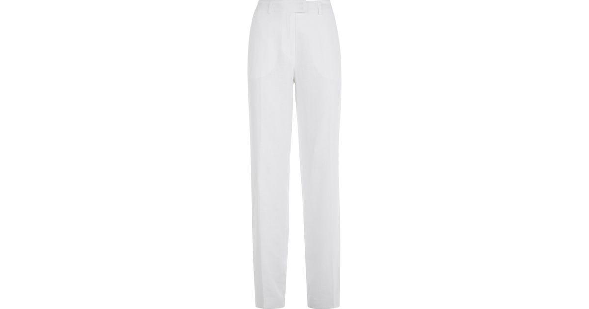 4532245c79 Jaeger Linen Parallel Leg Trousers in White - Lyst
