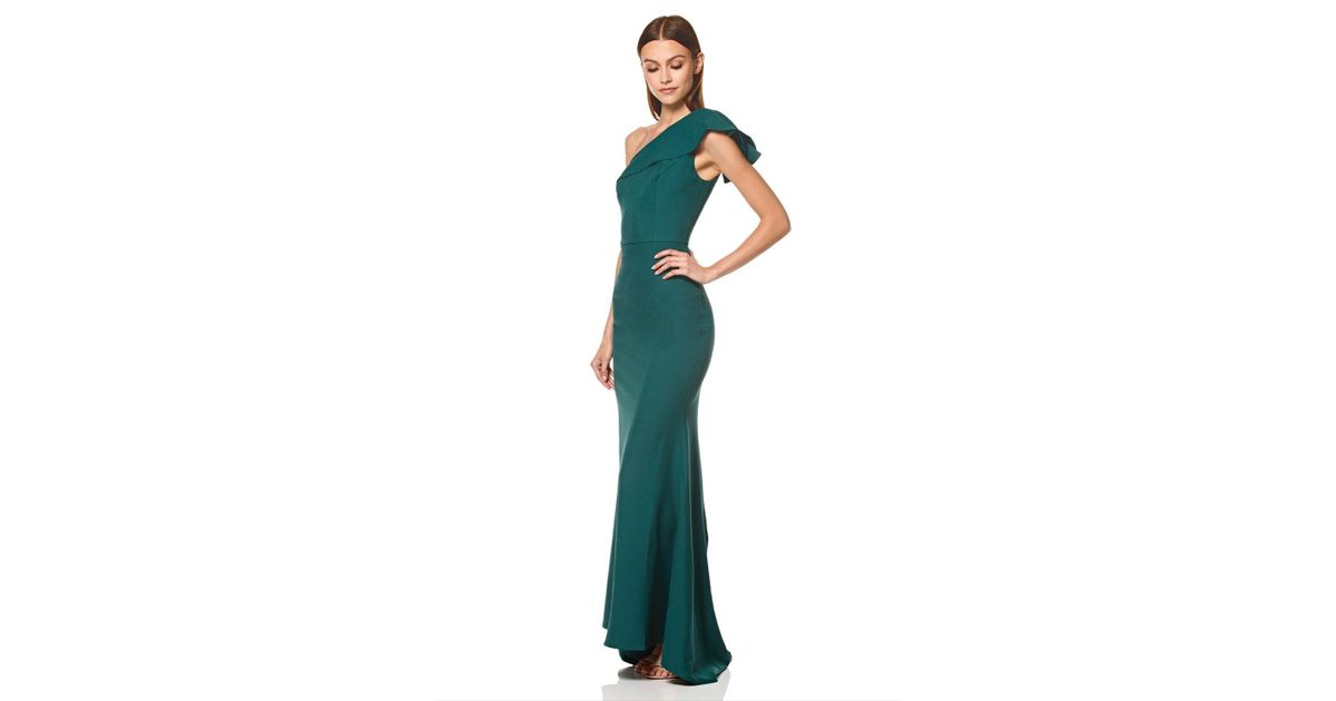 Jarlo Synthetic Levine Ruffle Frill One Shoulder Maxi