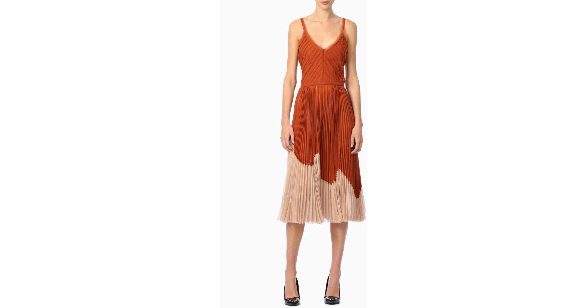 fb89800a713 Lyst - Jason Wu Crinkled Chiffon Sleeveless Cocktail Dress in Orange