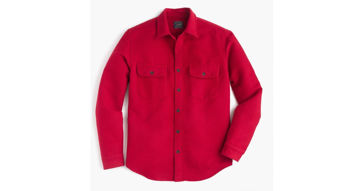 J.Crew Leather Heavyweight Chamois Shirt in Red for Men - Lyst