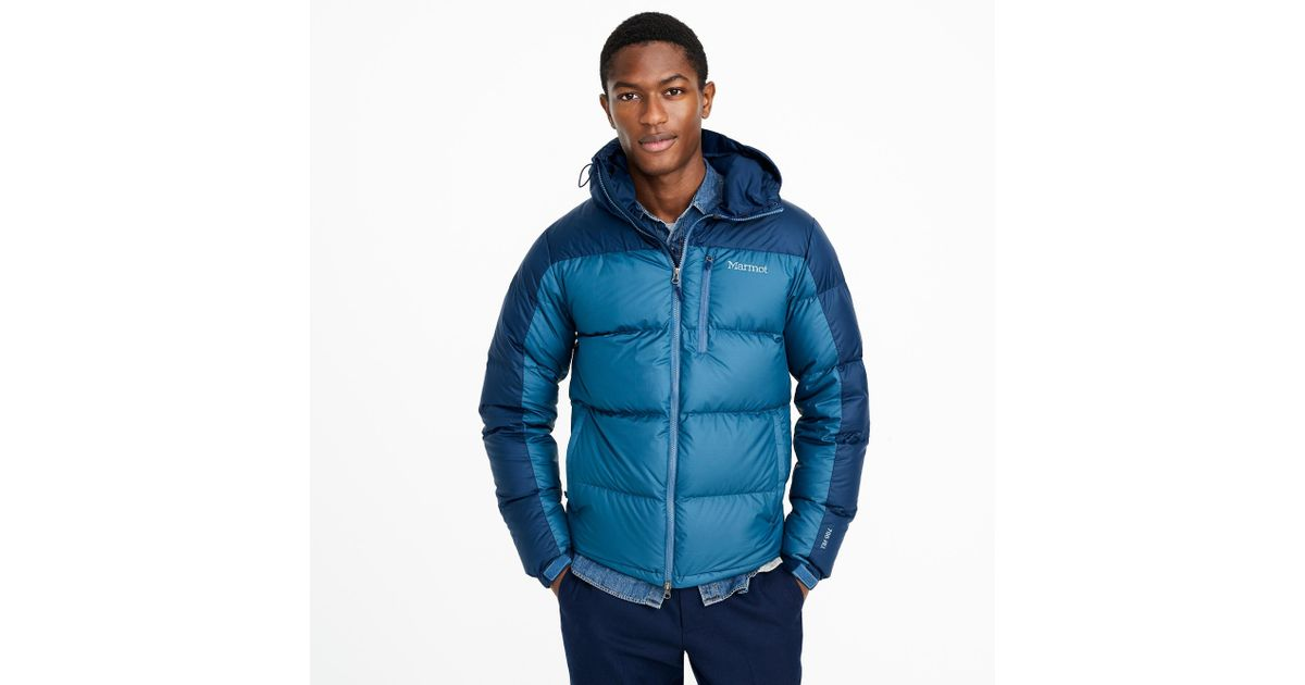 Lyst - J.Crew Marmot Guides Down Hoodie in Blue for Men 994e6e1ae791
