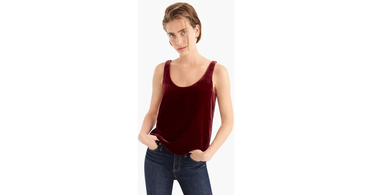 6c6e6f5a83 J.Crew Velvet Tank Top in Red - Lyst