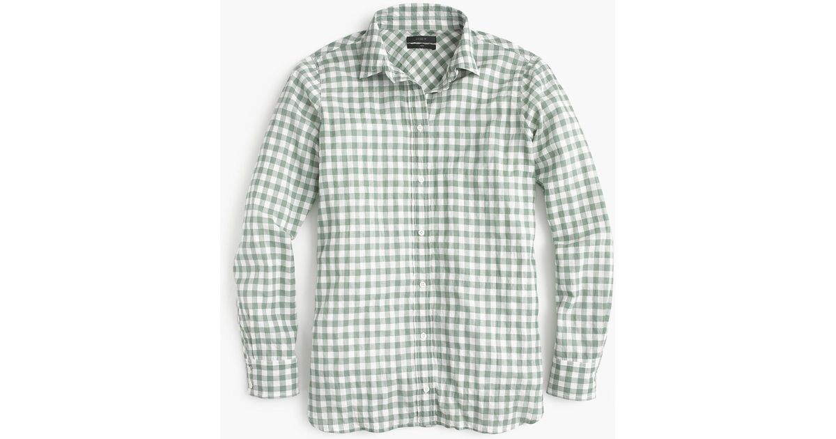 d4c59106e07 Lyst - J.Crew Petite Classic-fit Boy Shirt In Crinkle Gingham in Green for  Men
