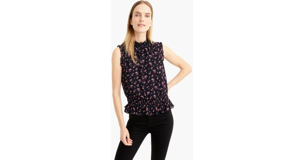 11296624042893 Lyst - J.Crew Sleeveless Smocked Top In Ditsy Floral in Blue - Save 29%